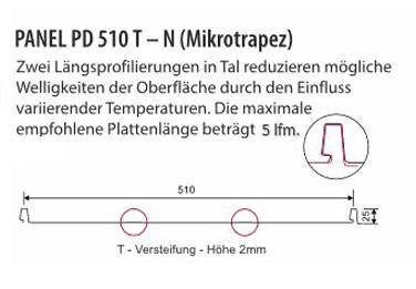 Paneel PD510 T-N Stehfalz - Technische Daten