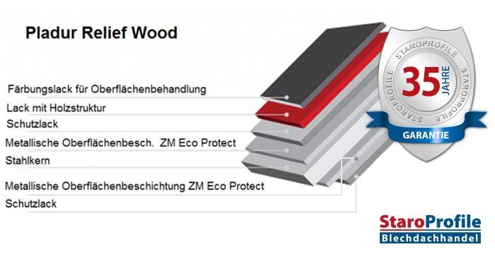 Pladur Relief Wood – Beschichtung 35 Jahre