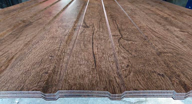 Trapezblech T-8 Fassade – Holzoptik