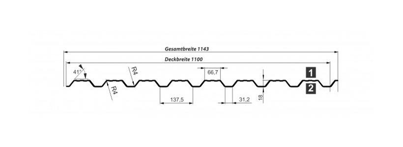 Trapezblech T-18 DR Fassade – Technische Daten