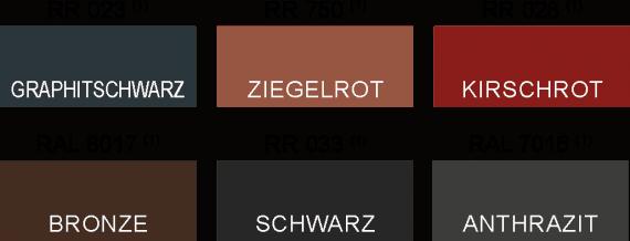 Metalldachpfanne Biberschwanz Farbtabelle