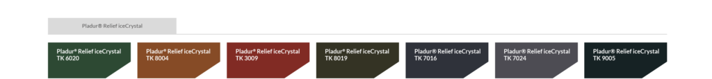 Farbtabelle Pladur® Relief IceCrystal