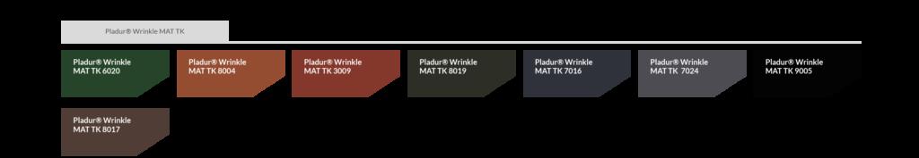 Farbtabelle Pladur® Wrinkle mat